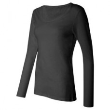 Women's Silky Long Sleeve Underscrub T-Shirt - Black  - 01010