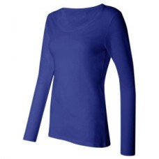 Women's Silky Long Sleeve Underscrub T-Shirt - Blue  - 01020