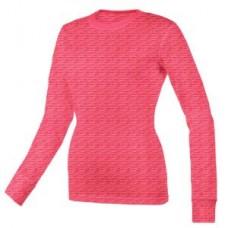 Women's Scratch Burn Out Long Sleeve Underscrub T-Shirt - Hot Pink  - 01056