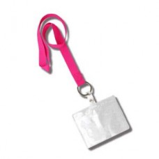 Soft, Silky Lanyard with Clear Badge Holder - Hot Pink - 01208