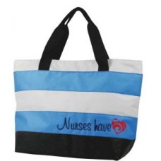 Nurses Have Heart Royal & Gray Embroidered Tote - 01703