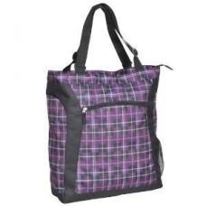 "Laptop Tote ""Purple Black Plaid"" - 01716"