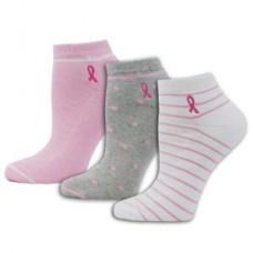 Stripes and Dots Pink Ribbon 3pk Socks - 02203