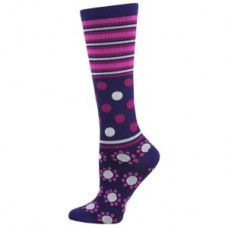 Abstract Dot Fashion Compression Sock - Purple - 94518