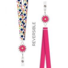 Reversible Badge Reel Lanyard-Groove Floral - 94609