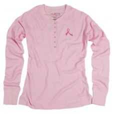 ProCure™ Pink Ribbon Thermal Henley Shirt - 00137