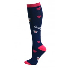 Coffee & Hearts Fashion Compression Sock - 94668