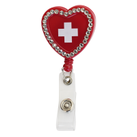 Heart with Cross Bling Retractable - 94777