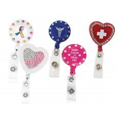 18pc Bling Assorted Retractable ID Holders - 94895