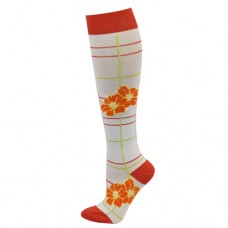 Ultra Soft Floral Plaid Compression Sock - Regular - 94692