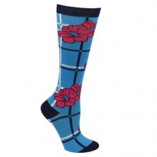 Ultra Soft Floral Plaid Compression Sock - Regular - 94693
