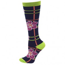 Ultra Soft Floral Plaid Compression Sock - Regular - 94694